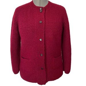 Hand knit red wool button cardigan